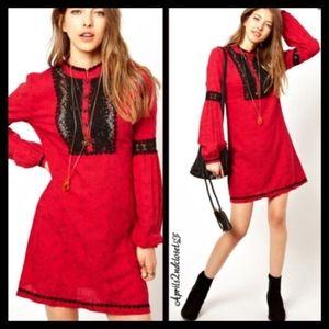 Free People Red Comb Crochet Boho Peasant Dress
